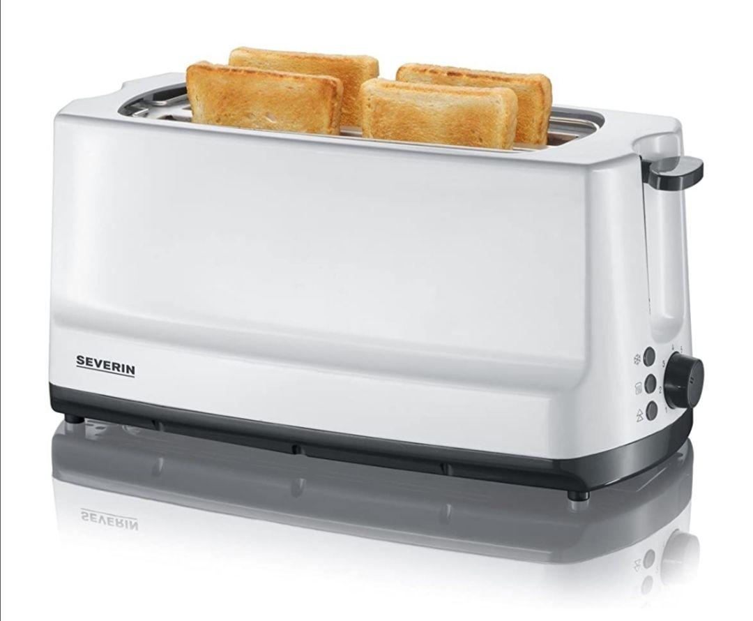 [Prime/Rewe] SEVERIN AT 2234 Automatik-Toaster (1.400 W, 2 Langschlitzkammern, Für bis zu 4 Brotscheiben) weiß/grau