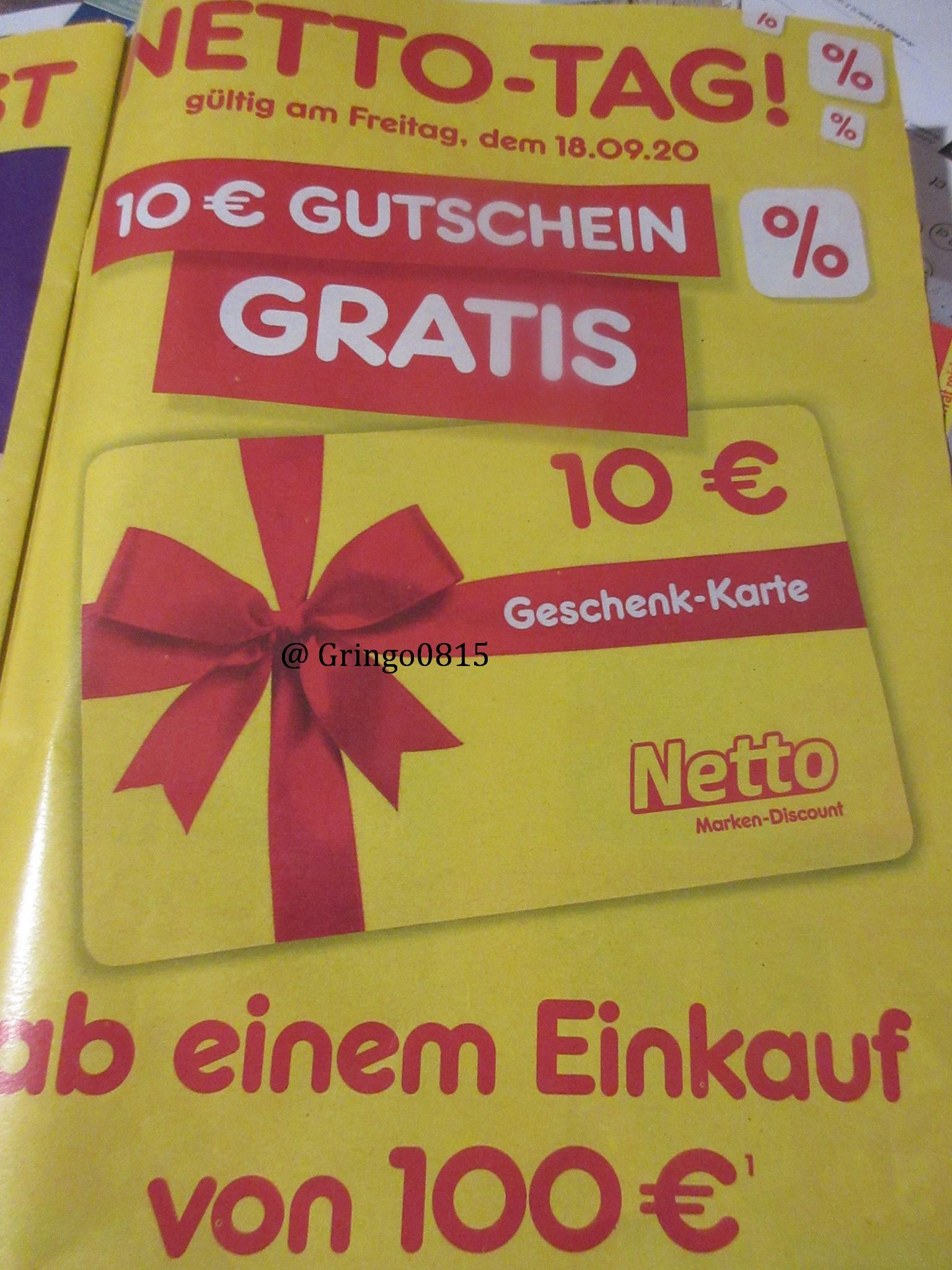 Netto - Fr. 18.09. für 100 Euro einkaufen und 10 Euro Geschenk - Karte