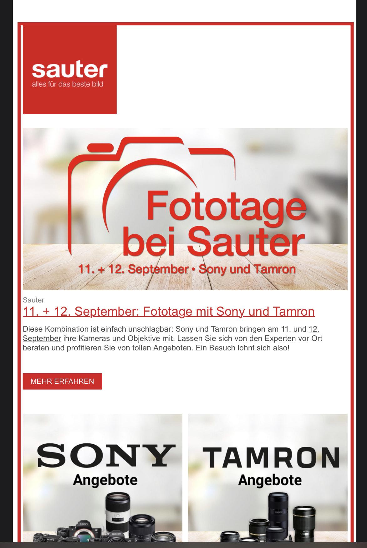 Foto Tage bei Sauter 5% auf Sony und Tamron + Zubehörgutschein