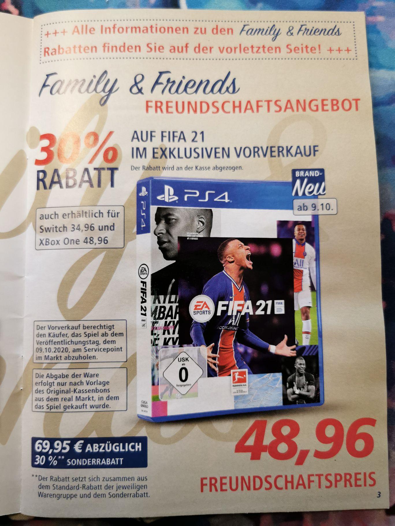 [REAL F&F] FIFA 21 PS4 für 48,96, Switch für 34,96, Xbox 48,96