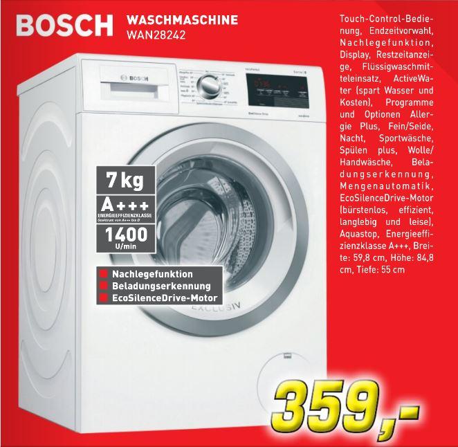 [Lokal Offline 46325 Borken] Bosch WAN28242 Serie 4 Waschmaschine A+++/157 kWh/Jahr /1400 UpM /7 kg/AllergiePlus/ActiveWater/Mengenautomatik