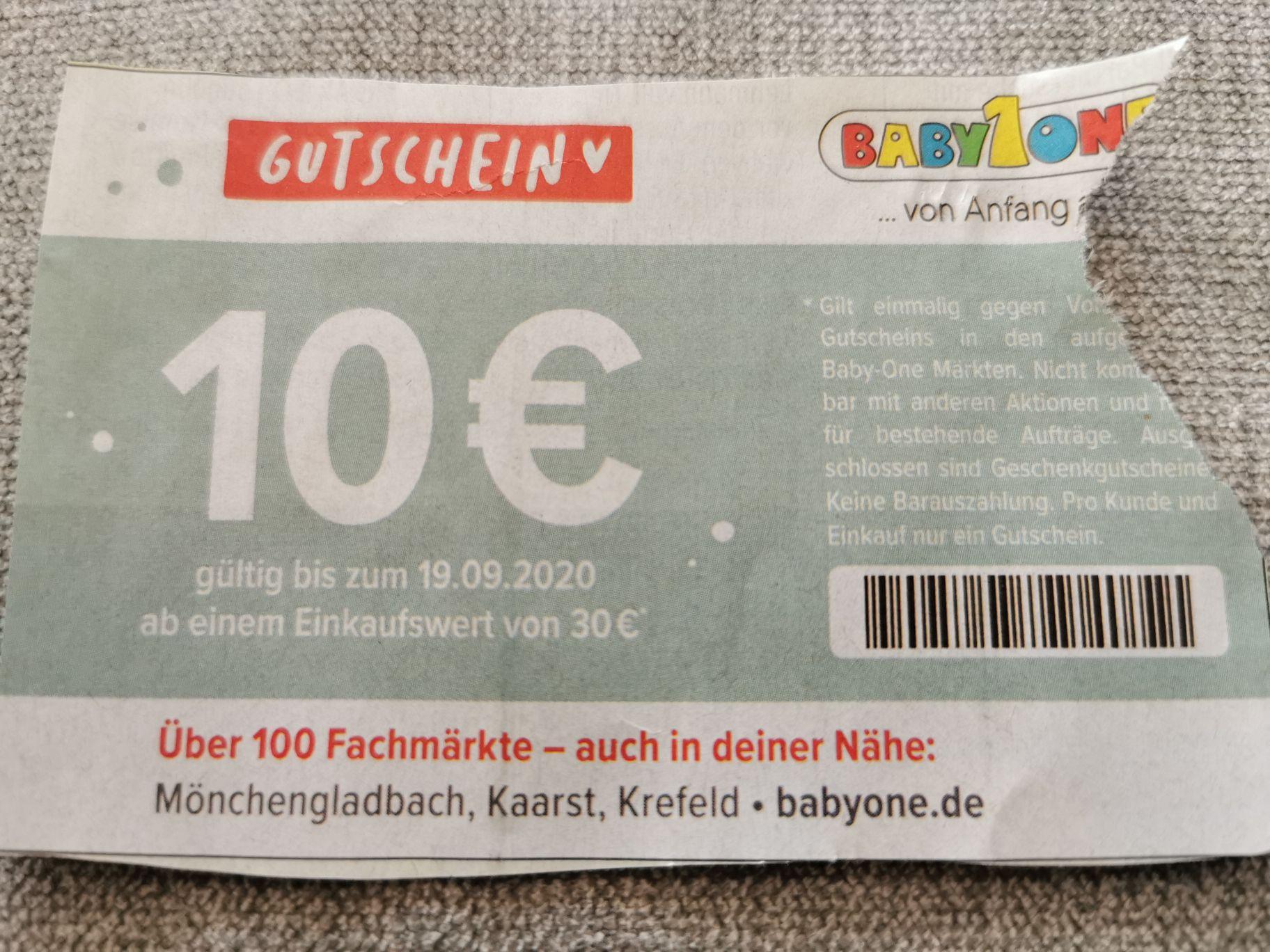 Babyone MG, Kaarst und Krefeld 10€ Rabatt bei 30€ MBW