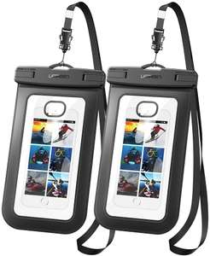 [Prime] Wasserdichte Handytaschen Doppelpack (IPX8 für 30min bis 30m Wassertiefe, für Geräte von 4 bis 6.5 Zoll, Touch-Bedienung möglich)