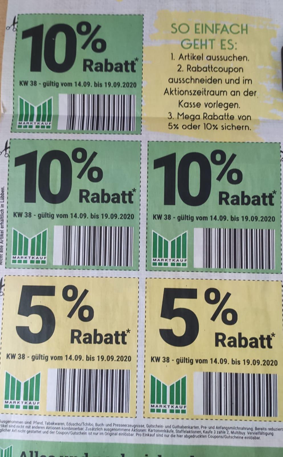 [Marktkauf Minden-Hannover] 3x -10% und 2x -5% Rabatt Coupons im Prospekt