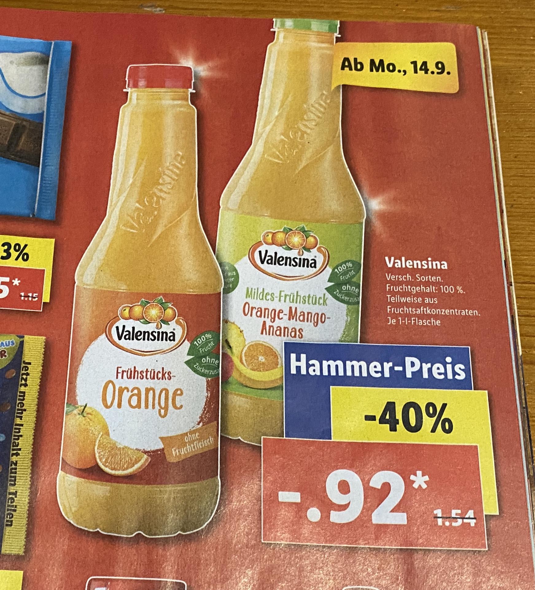 Lidl: Valensina Orangensaft und Orange-Mango-Ananas für 0,92€