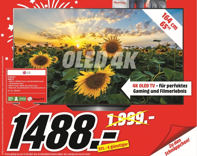 [Lokal Mediamarkt Berlin-Mitte /Nur am 13.09] LG OLED65B9SLA OLED-Fernseher (164 cm/65 Zoll, 4K Ultra HD, Smart-TV), schwarz für 1488,-€