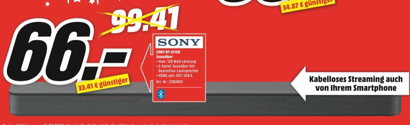 [Lokal Mediamarkt Berlin-Mitte / Nur am 13.09] Sony HT-SF150 2-Kanal Soundbar (Verbindung über HDMI, Bluetooth und USB) Schwarz für 66,-€