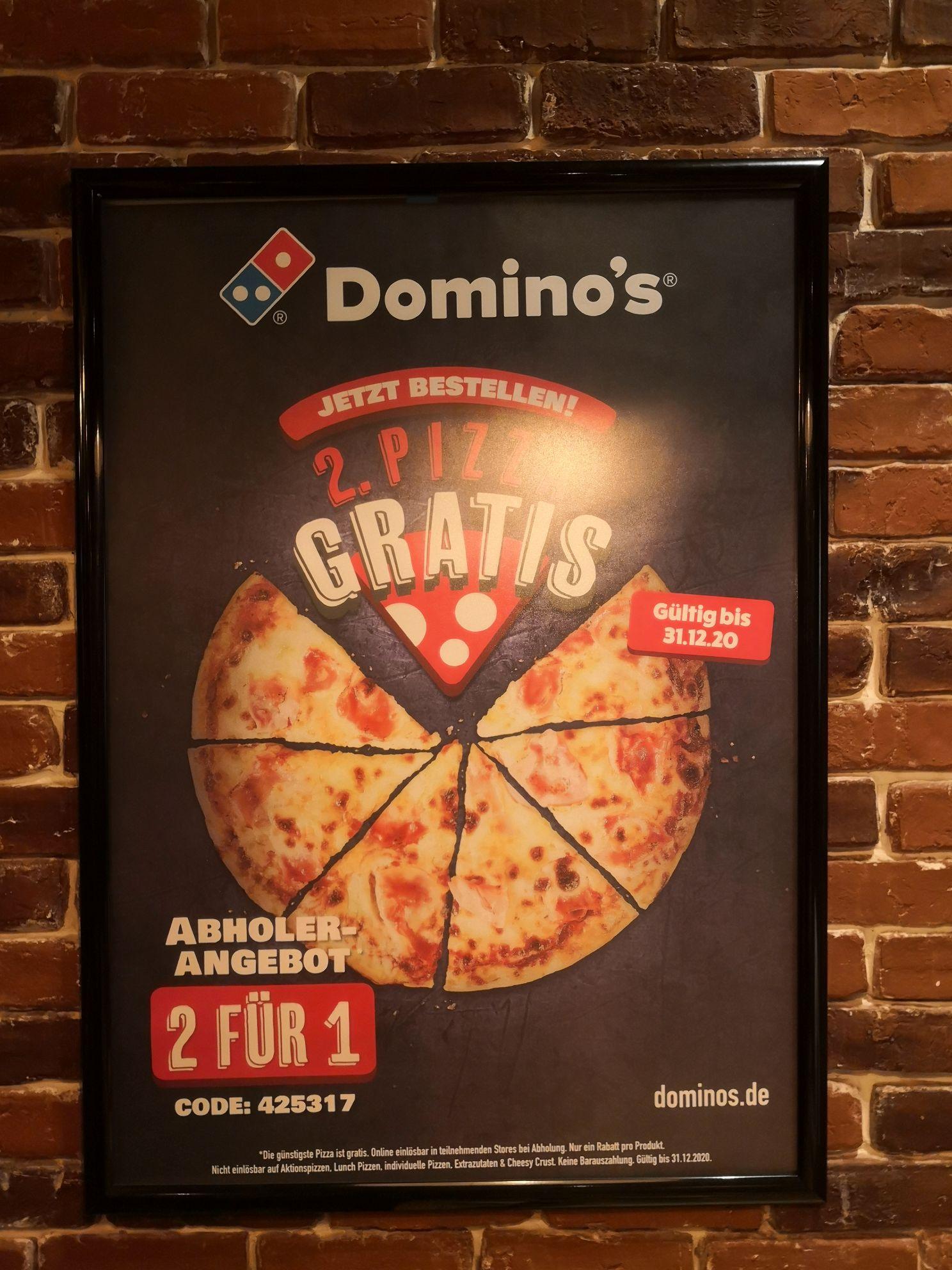 2 für 1 Aktion auf alle Pizzen bei Domino's - 50% bei Selbstabholung.