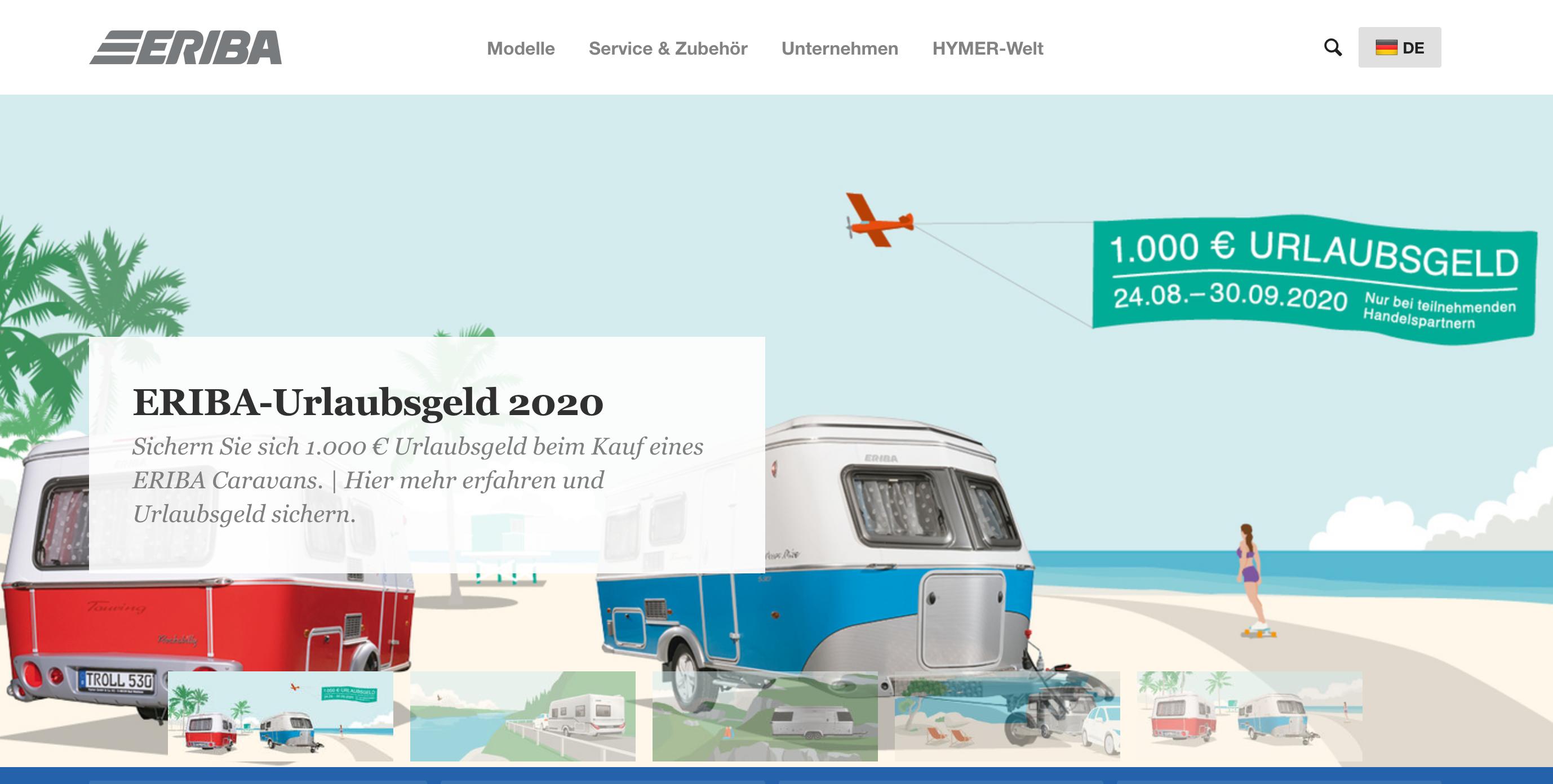 """1.000 € Rabatt (""""Urlaubsgeld"""") beim Wohnwagenkauf (bis Ende September)"""