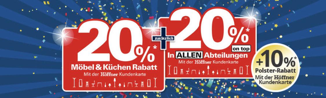 Möbel Höffner Rabatt 20%* + 20%* + 10%*