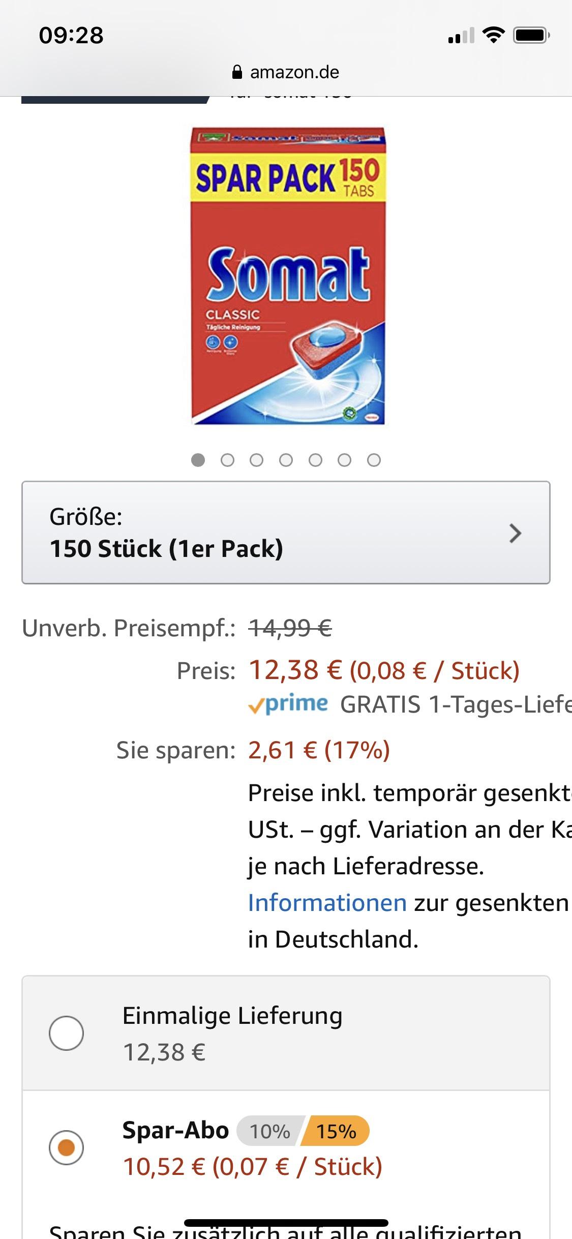Somat Classic 150 Tabs im Spar Abo für 11,15€