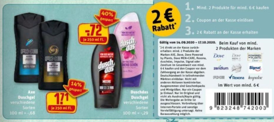 [Rewe] 9x Duschdas Duschgel mit Coupon für 4,48€| 4x Axe Duschgel mit Coupon für 4,84€