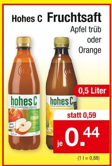 Hohes C, Orange oder Apfel trüb, die 0,5L-Flasche für 44 Cent [Zimmermann-Filiale]