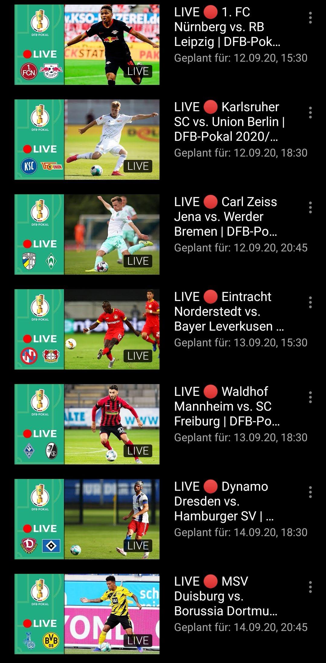 Ausgewählte DFB-Pokal Spiele kostenlos bei Youtube - VPN nötig