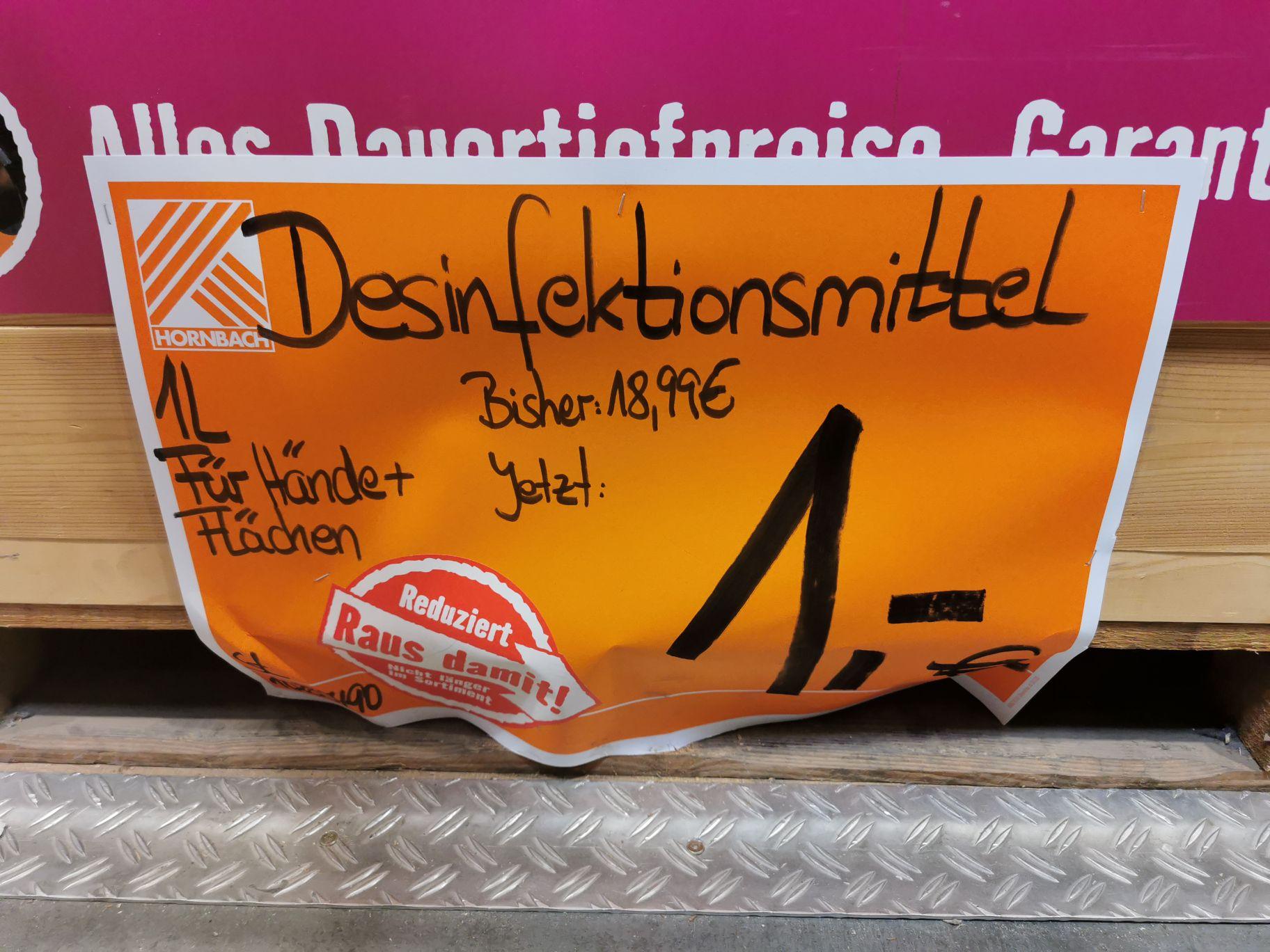 Desinfektionsmittel Fläche und Hand, Hornbach Hannover Linden