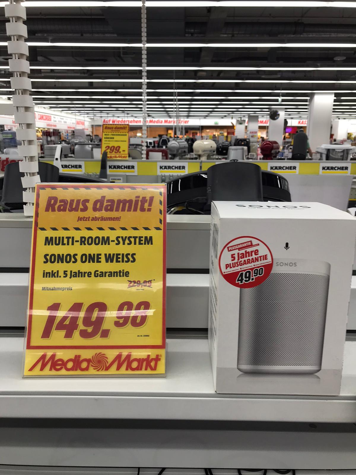 [MediaMarkt Trier] Sonos One (Gen 2) Weiß inkl. 5 Jahre Plus Garantie für 149€ Multiroom Lautsprecher