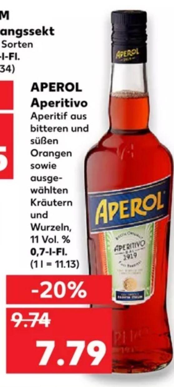 [Kaufland Do-Mi] Aperol 0,7l Flasche mit Marktkguru Cashback für effektiv 6,79€