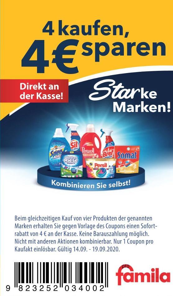 [FAMILA] 4 x Spee / Weißer Riese Waschmittel Gel / Caps / Megaperls (1,23 Euro pro Flasche)