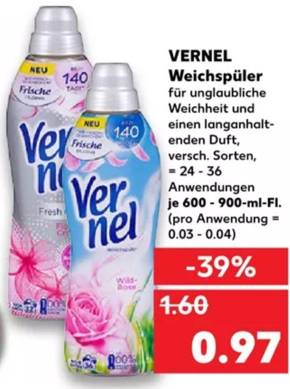 [Kaufland Do-Mi] 3x Vernel Weichspüler mit Coupon für 1,91€