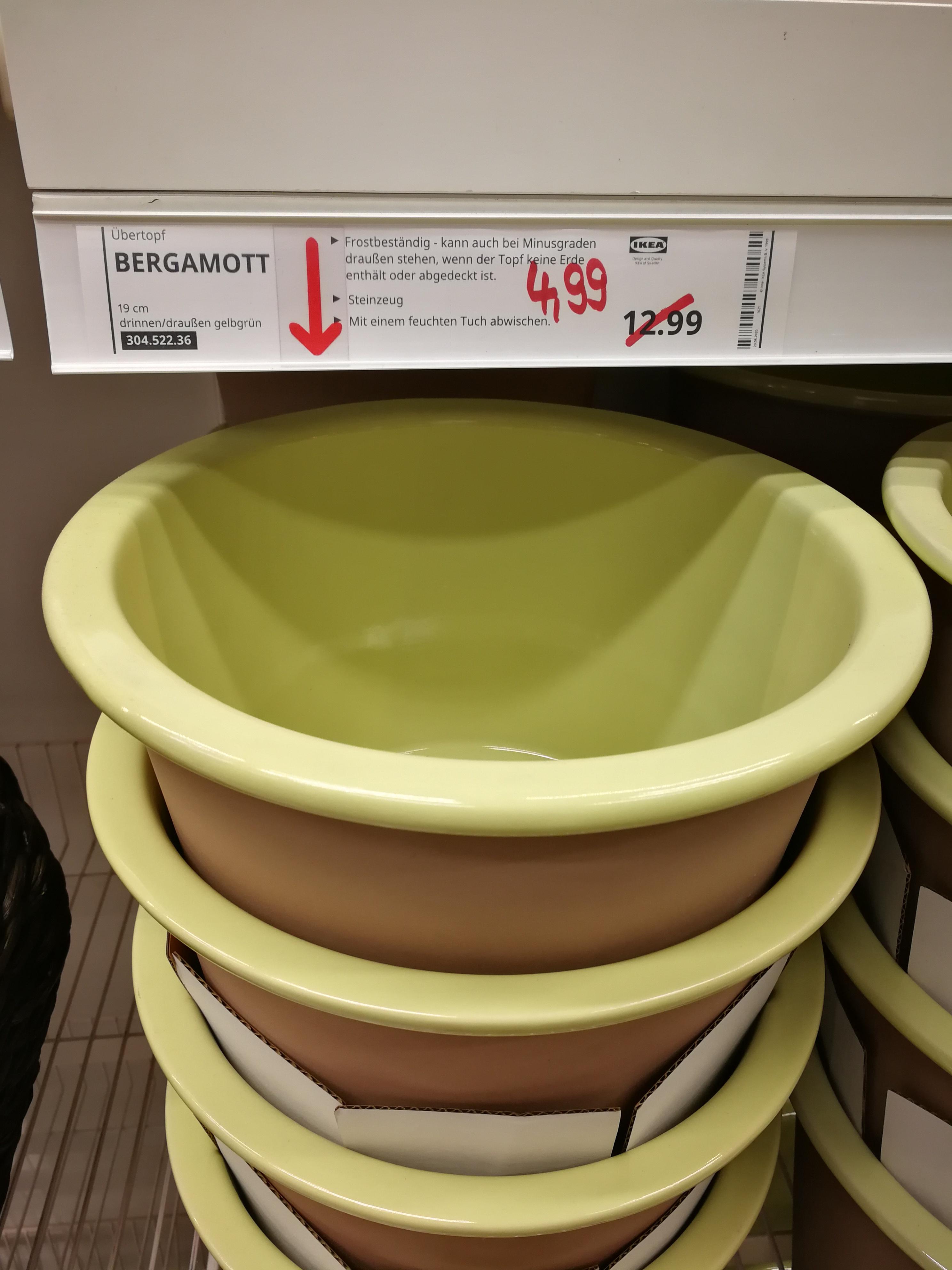 IKEA ÜBERTOPF BERGAMOTT STEINGUT INNEN/AUSSEN D-21cm GRÜN/BRAUN