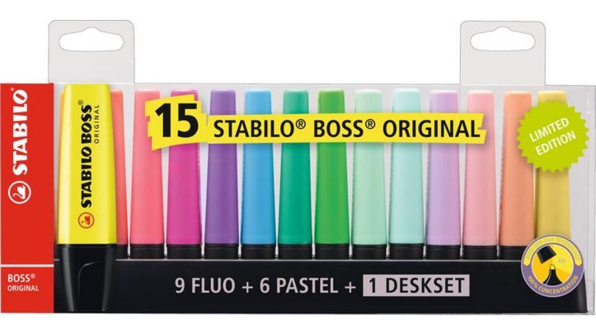 STABILO Textmarker BOSS ORIGINAL - 15er Tischset (9 Leu0chtfarben, 6 Pastellfarben) für 9,99€ (Müller Abholung)