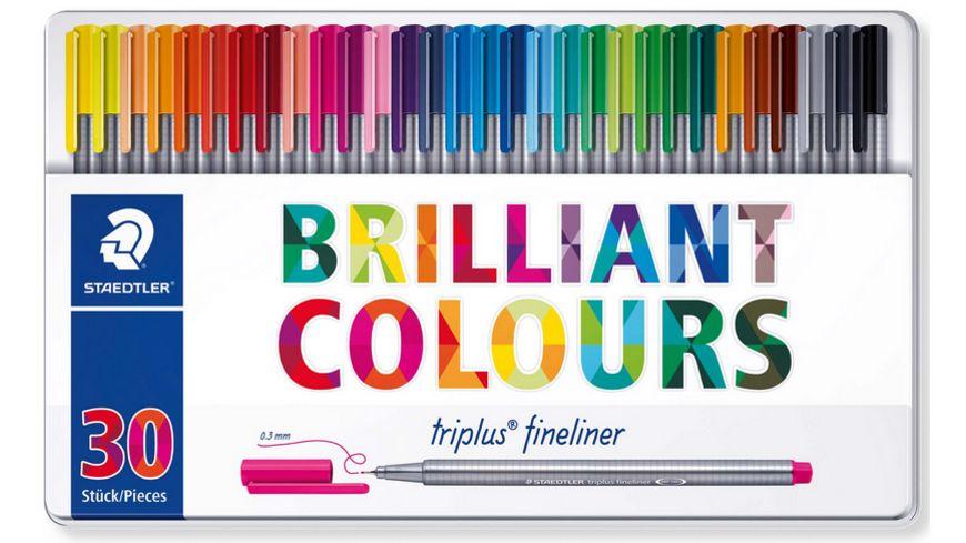 Staedtler Fineliner triplus dreikant, hochwertiges Metalletui mit 30 brillanten Farben, metallgefasste Spitze für 9,99€ (Müller Abholung)