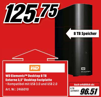 "WD Elements™ Desktop, 8 TB HDD, 3.5"" externe Festplatte (ausbaubar, 14,47€/TB) ) - 115,75€ | 6TB für 96,51€"