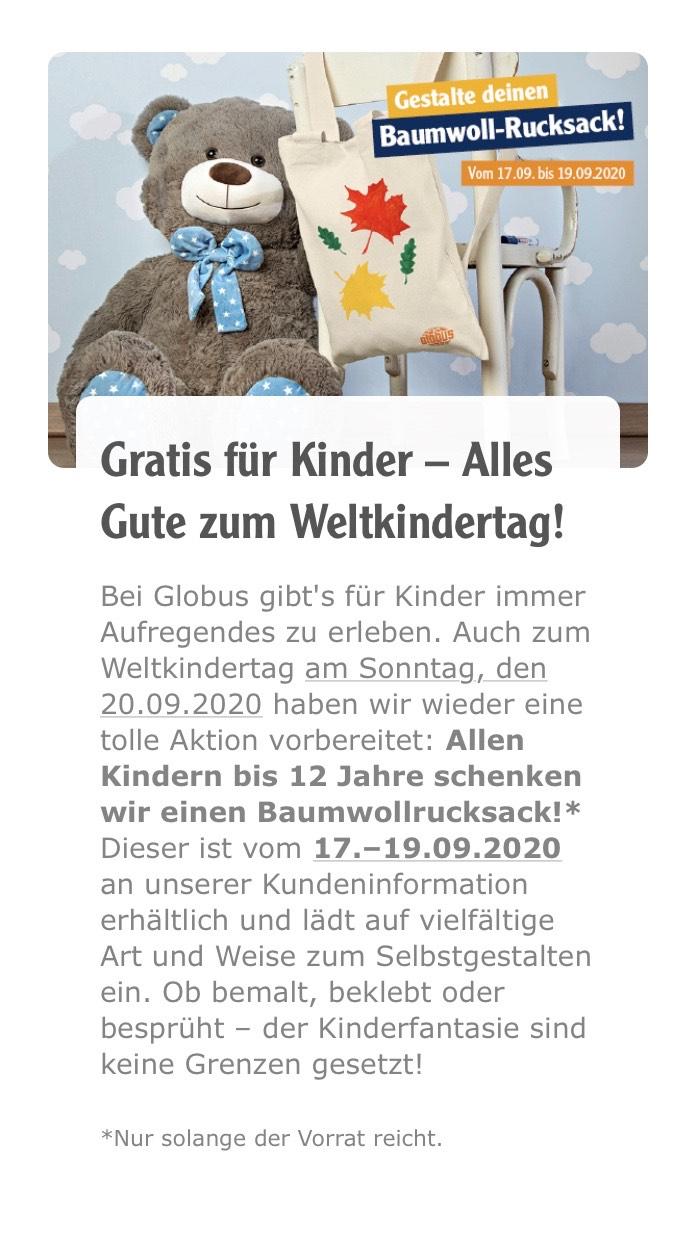 Globus Lokal Baumwollrucksack gratis für Kinder bis 12 Jahre