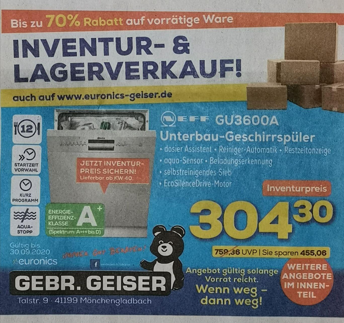 Neff GU3600A Unterbau-Geschirrspüler