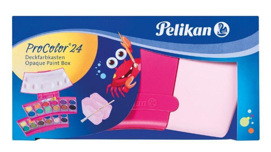 Pelikan Deckfarbkasten Procolor 24 in pink oder grün (24 Farben, Inklusive 1 Tube Deckweiß + Pinsel) [MÜLLER Abholung]