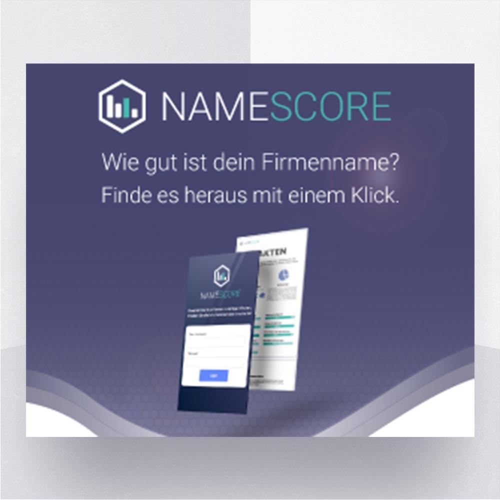 Schnellprüfung von Firmen- und Produktnamen bei Namescore