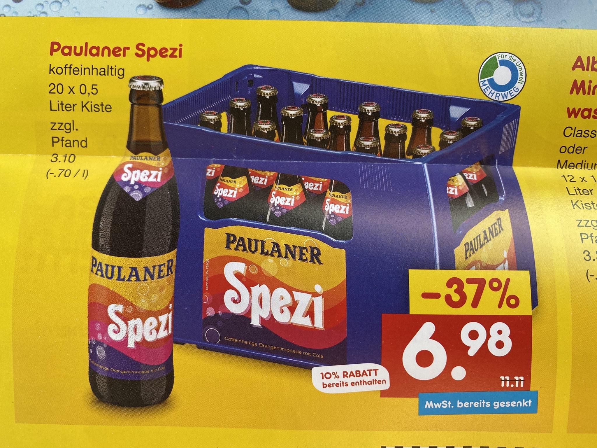 [Lokal] Paulaner Spezi 20 x 0,5l für 6,98€ (zzgl. 3,10€ Pfand) bei Netto