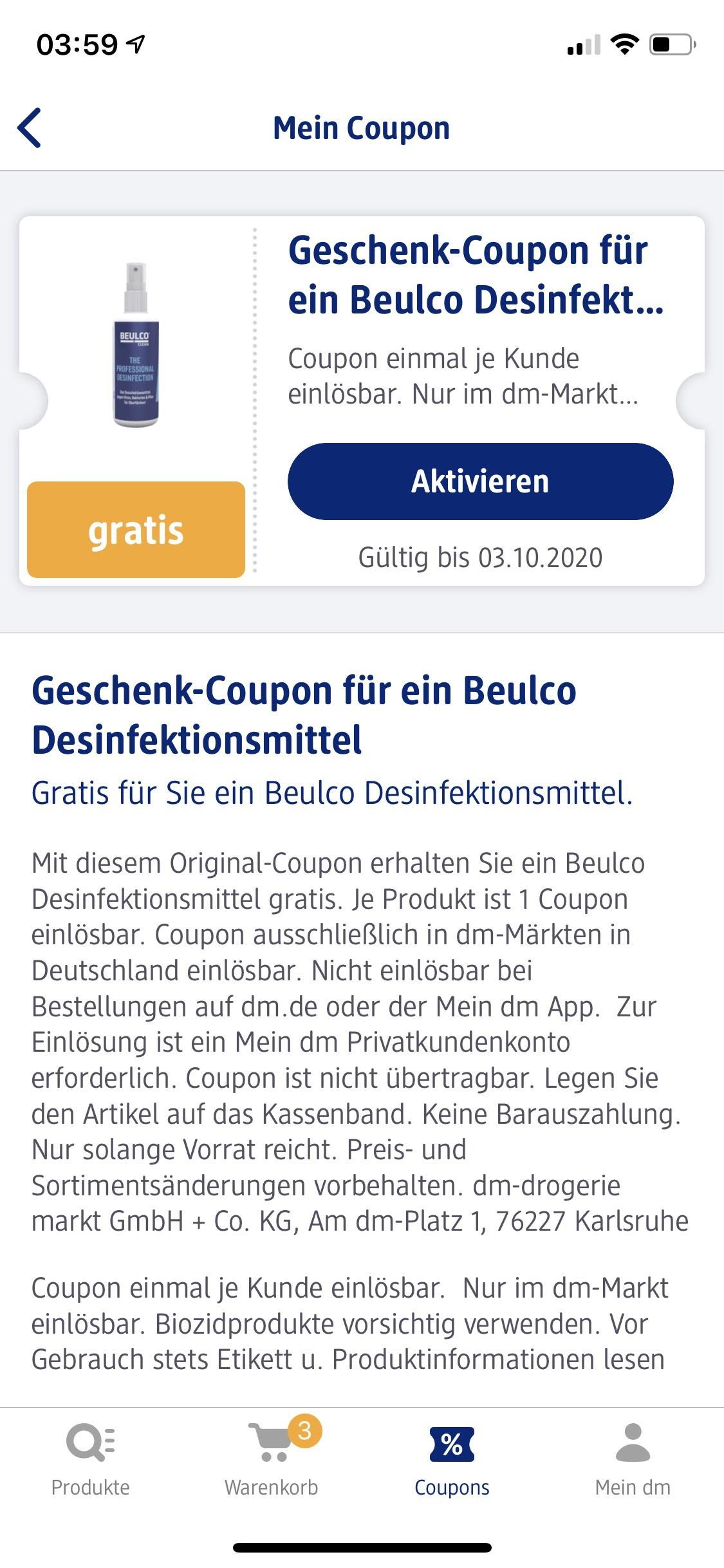 [Mein DM] Gratis Beulco Desinfektionsmittel