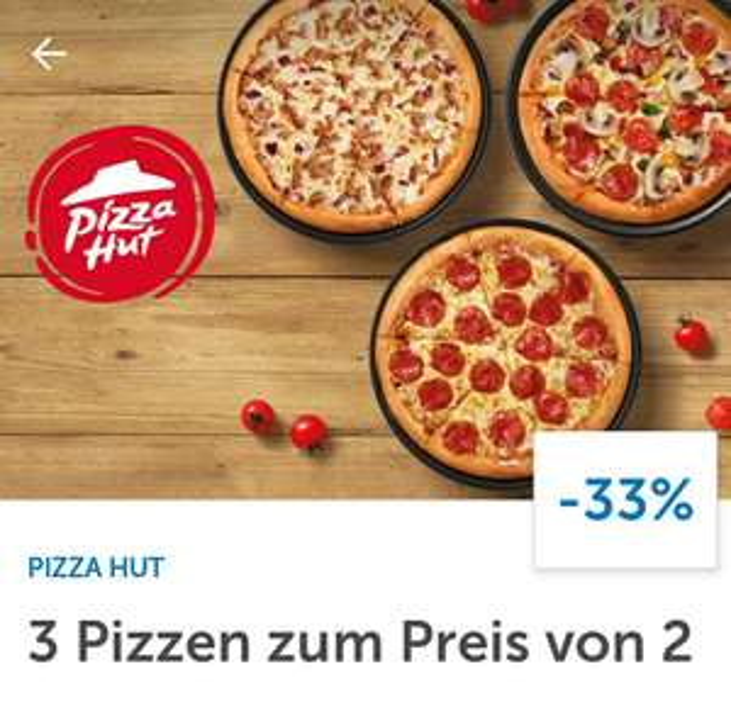 Pizza Hut   3 Pizzen zum Preis von 2 per LIDL Plus-App