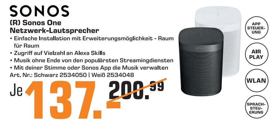 [Regional Saturn Gelsenkirchen] Sonos One (2. Gen), Multiroom-Lautsprecher, für Musik-Streaming für 137,-€