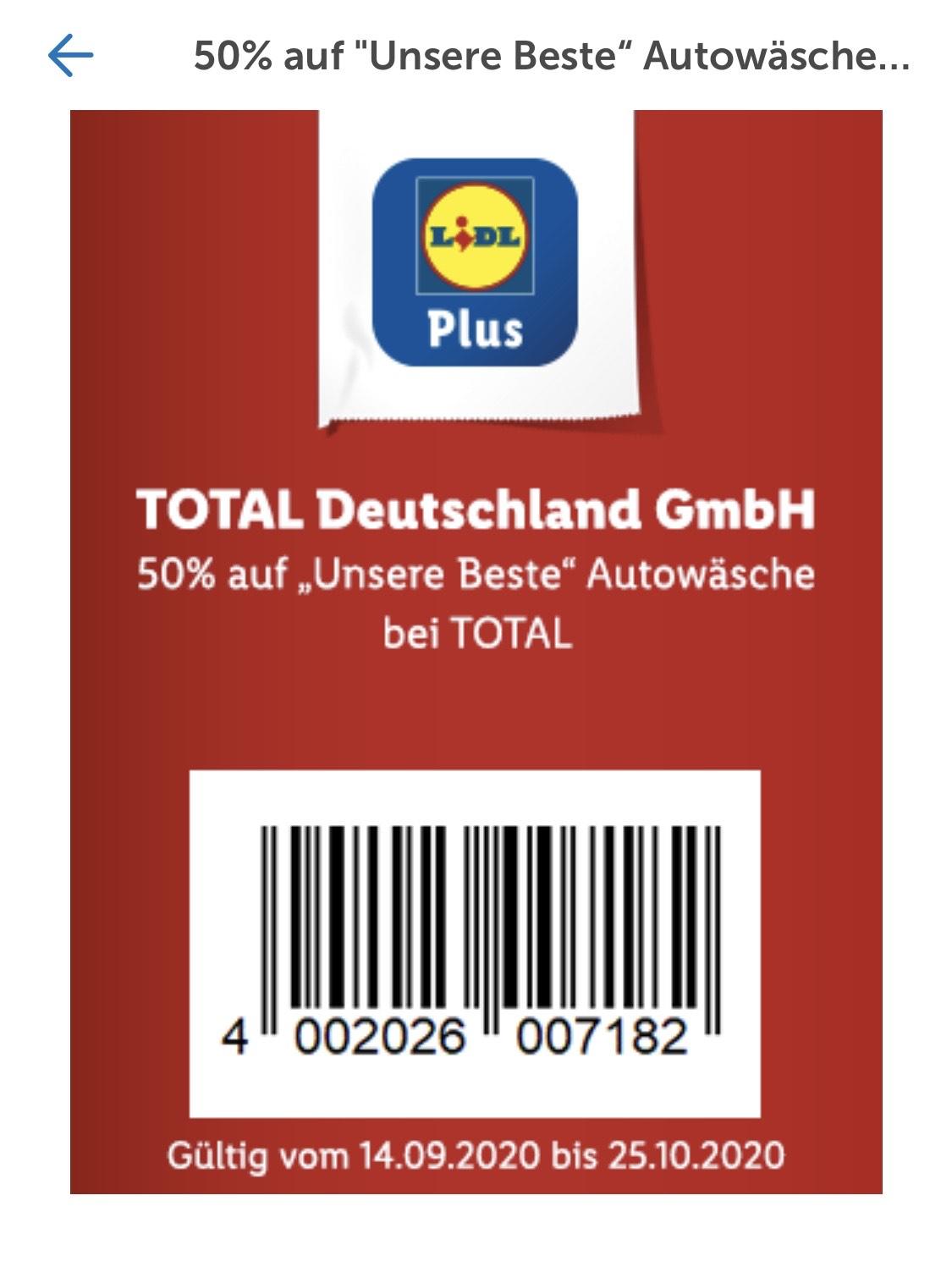"""TOTAL Autowäsche """"Unsere Beste"""" für 6,49€ über Gutschein in der LIDL Plus App [Bundesweit] (Mindestens 50% auf den Preis vor Ort)"""