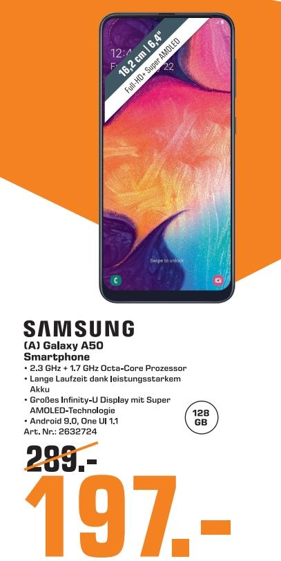[Regional Saturn Frankfur/Gießen] Samsung Galaxy A50 Smartphone (16.3cm (6.4 Zoll) 128GB Interner Speicher, 4GB RAM) für 197,-€