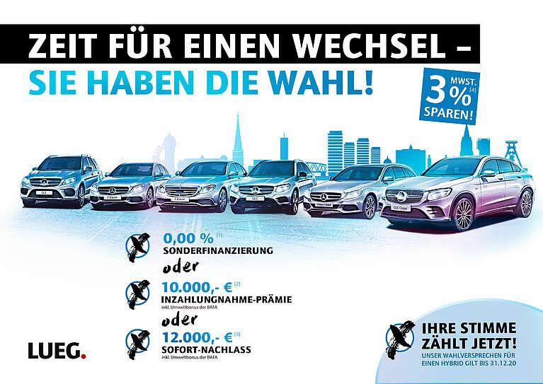 LUEG Mercedes Hybrid Aktion - 0,00% Finanzierung oder 12.000€ Sofortrabatt oder 10.000€ Inzahlungnahme- Prämie