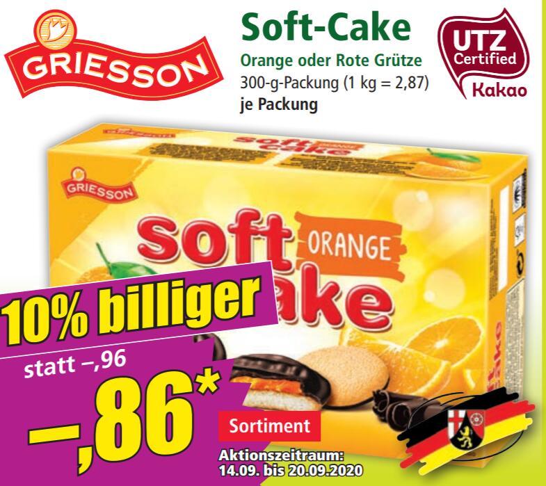 [NORMA] 1x Griesson Soft Cake Orange oder Rote Grütze für 0,43€ [-3% +0,40€ marktguru Cashback]