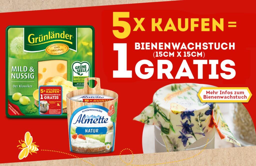 5 Produkte von Almette oder Grünländer kaufen 1 Bienenwachstuch (15x15cm) GRATIS per Post erhalten