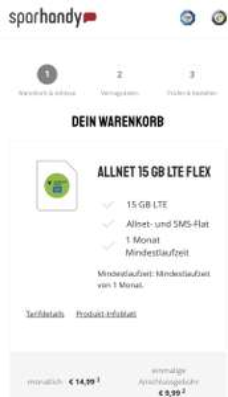 Allnet 15 GB LTE/ 225 Mbit/s /kündbar mtl. € 14, 99 mobilcom debitel