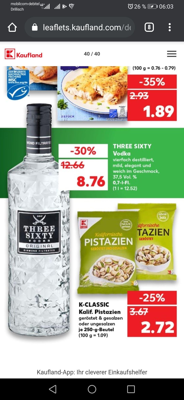 Three Sixty Vodka Kaufland (ab 21.09.2020) Wodka