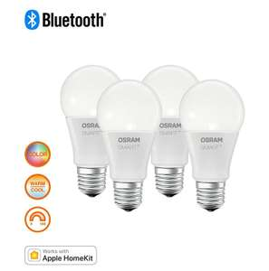 (Prime) 4er Pack Osram SMART+ LED, Bluetooth Lampe mit E27 Sockel RGBW (mit Apple Homekit komp.)