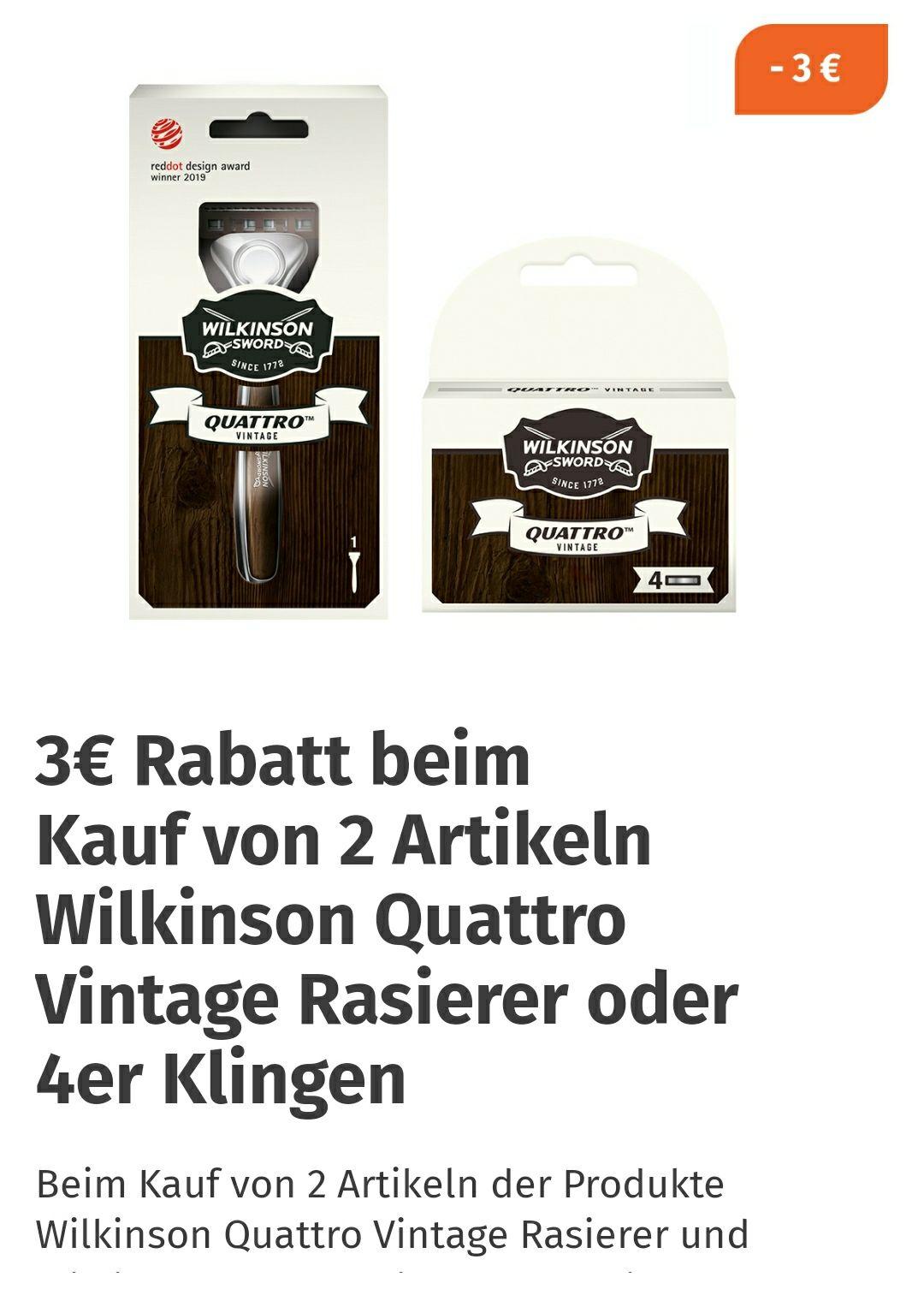 3 Euro Sofortrabatt auf 2 Wilkinson Quattro Vintage-Artikel