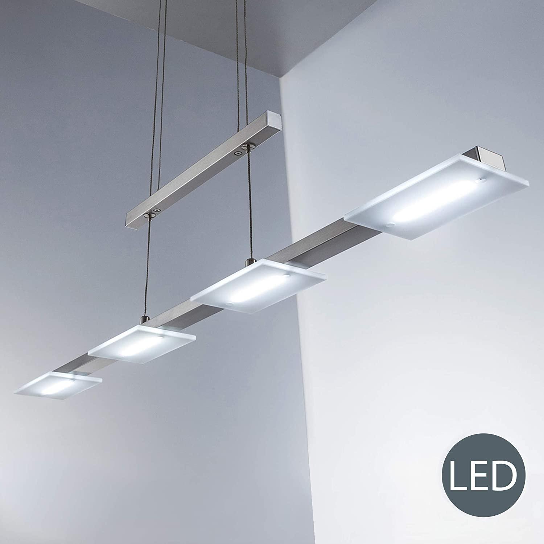 B.K.Licht LED Pendelleuchte, 87cm, warmweiß, matt-nickel