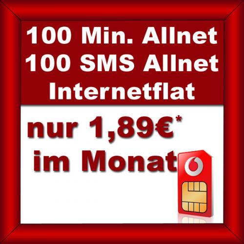 Vodafone Basic 100 (100Min, 100SMS und Internetflat 200MB) für 1,89€/Mon.