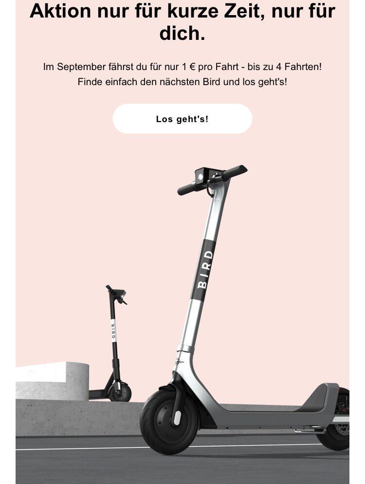 Personalisiert?: Nur 1€ Pro Fahrt mit Bird E-Scooter (bis 15 Minuten)