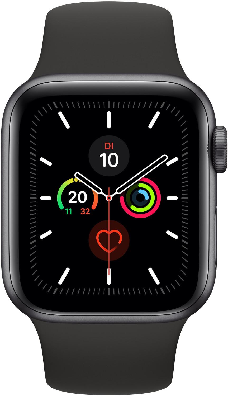 Apple Watch Series 5 WLAN, 44 mm, Aluminiumgehäuse space grau, Sportarmband schwarz // AirPods 2 Wireless für 100€ in Kombination möglich