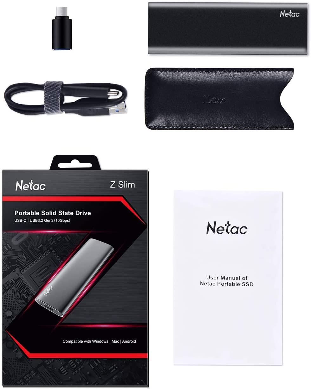 Netac ZSLIM externe SSD 250 GB, USB 3.2 Gen 2, bis zu 500 MB/s Lesen