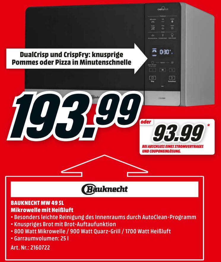 MediaMarkt: Mikrowelle mit Grill, Heißluft und Dampfgarer - Bauknecht MW 49 SL